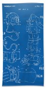 1973 Space Suit Elements Patent Artwork - Blueprint Beach Towel by Nikki Marie Smith