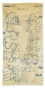 1973 Space Suit Elements Patent Artwork - Vintage Beach Towel