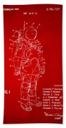 1973 Space Suit Patent Inventors Artwork - Red Beach Towel