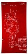 1973 Space Suit Patent Inventors Artwork - Red Beach Towel