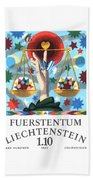 1977 Liechtenstein Libra Postage Stamp Beach Towel