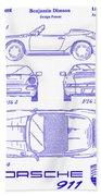 1990 Porsche 911 Patent Blueprint Beach Towel