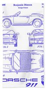 1990 Porsche 911 Patent Blueprint Beach Sheet
