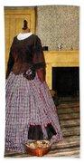 19th Century Plaid Dress Beach Towel
