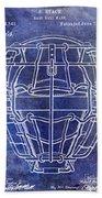 1887 Baseball Mask Patent Blue Beach Towel