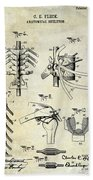 1911 Anatomical Skeleton Patent Beach Towel