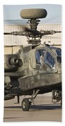 Ah-64d Apache Longbow Taxiing Beach Towel
