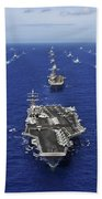 Aircraft Carrier Uss Ronald Reagan Beach Towel