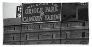 Baltimore Orioles Park At Camden Yards Bw Beach Towel