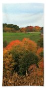 Barn On Autumn Hillside  A Seasonal Perspective Of A Quiet Farm Scene Beach Towel
