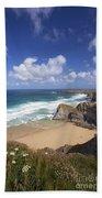 Bedruthan Steps Beach And Atlantic Surf In Summer Sun Cornwall  Beach Towel