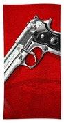 Beretta 92fs Inox Over Red Leather  Beach Towel