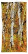 Birch Trees In Autumn Beach Towel