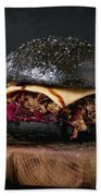 Black Burger With Stews Beach Towel