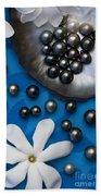 Black Pearls And Tiare Flowers Beach Towel