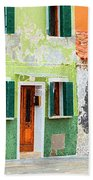 Burano Anisland Of Multi Colored Homes On Canals North Of Venice Italy Beach Towel