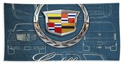 Cadillac 3 D Badge Over Cadillac Escalade Blueprint  Beach Towel