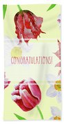 Card With Spring Flowers Beach Towel