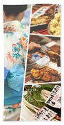 Collage Of Japan Food Images Beach Towel