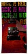 Colorful Music Rock N Roll Guitar Retro Distressed  Beach Towel
