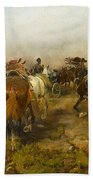 Cossacks Returning Home On Horseback Beach Towel