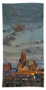 Cotton Candy Sky Over Charlotte North Carolina Downtown Skyline Beach Towel