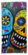 Couple Day Of The Dead Beach Towel