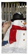 Curious Piglets And Snowman Beach Towel