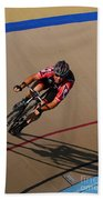 Cycle Racing On The Curve Beach Towel