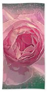 Digitally Manipulated Pink English Rose  Beach Towel
