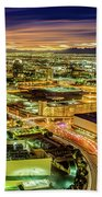 Early Morning Sunrise Over Valley Of Fire And Las Vegas Beach Towel