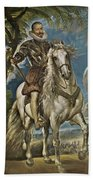 Equestrian Portrait Of The Duke Of Lerma Beach Towel