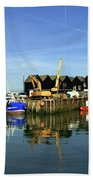Fishing Boats At Whitstable Harbour 03 Beach Towel