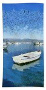 Fishing Boats In Nafplio Town Beach Towel