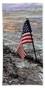 Flag In A Crack In The Pavement Beach Sheet
