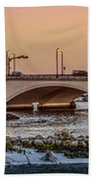 Flagler Bridge In Lights Panorama Beach Towel