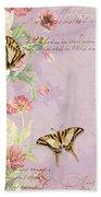 Fleurs De Pivoine - Watercolor W Butterflies In A French Vintage Wallpaper Style Beach Towel