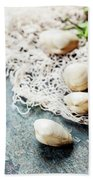 Food Background With Seafood And Wine Beach Towel