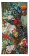Fruit And Flowers In A Terracotta Vase Beach Towel