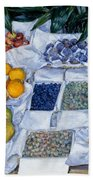 Fruit Displayed On A Stand Beach Towel