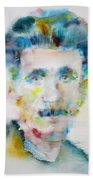 George Orwell - Watercolor Portrait Beach Towel