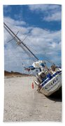 Ghost Ship Beached By Hurricane Irma Beach Towel