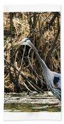 Great Blue Heron Fishing Beach Towel