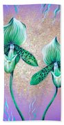 2 Green Orchids. Sunrise Beach Towel