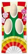 Japanese Newyear Decoration Beach Towel
