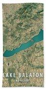 Lake Balaton 3d Render Satellite View Topographic Map Beach Towel