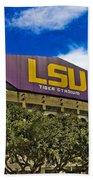 Lsu Tiger Stadium Beach Towel by Scott Pellegrin