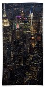 Midtown West Manhattan Skyline Aerial At Night Beach Towel