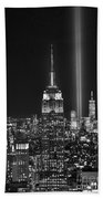 New York City Tribute In Lights Empire State Building Manhattan At Night Nyc Beach Towel