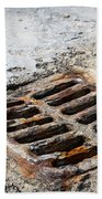Old Rusty Street Grate Near The Sea In Cres Beach Towel